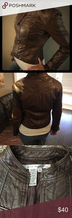 Brown pu leather jacket Max studio pu leather jacket. Beautiful detailing! Jacket features different tones of brown which really makes it beautiful. Only worn a few times. In perfect condition! Max Studio Jackets & Coats