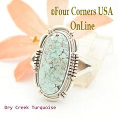 Four Corners USA Online - Size 7 1/2 Dry Creek Turquoise Sterling Ring Navajo Artisan Larry Moses Yazzie NAR-1692, $113.00 (http://stores.fourcornersusaonline.com/size-7-1-2-dry-creek-turquoise-sterling-ring-navajo-artisan-larry-moses-yazzie-nar-1692/)