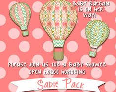 Baby Shower Invitation Hot Air Balloons Up Up by StephsSweetShoppe