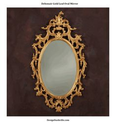 Old World fine mirrors. oval Rococo. Debonair Gold Leaf Oval Mirror