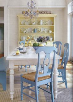 Denim blue, white, and butter yellow. This would be cute for the kitchen table.