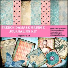 French Damask Grunge Digital Journaling Kit  by HopePhotoArt, $6.95