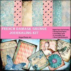French Damask Grunge Digital Journaling Kit  by HopePhotoArt, $6.95