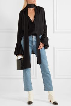 Heel measures approximately 3 inches White and black leather Zip fastening along side Made in ItalySmall to size. See Size & Fit notes. White Leather Ankle Boots, Black Leather, Look Chic, Proenza Schouler, Cropped Jeans, Jeans And Boots, Stella Mccartney, Bucket Bag, Duster Coat