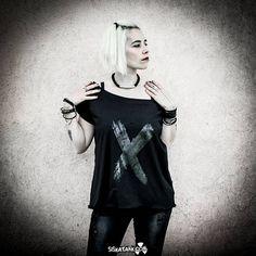 X  Black Printed oversized maxi t-shirt top Short Sleeves