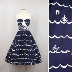 Vintage Victor Costa Dress Nautical Nipped Waist Full Skirt Sail Boat 80's does 50's Polished Cotton