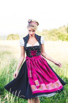 Navy/hot pink Dirndl Marlene Elegantes schwarzes Mididirndl