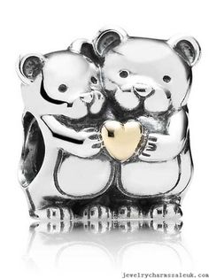 Pandora Charms Silver 14K Gold Teddys Heart IH0806