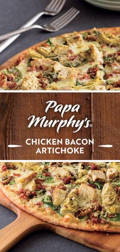 Dinner looks tasty if it's the Chicken Bacon Artichoke Pizza, baked perfectly on an artisan thin crust with creamy garlic sauce. Artichoke Sauce, Artichoke Pizza, Creamy Garlic Sauce, Thin Crust, Chicken Bacon, Menu Items, Artisan, Tasty, Dinner