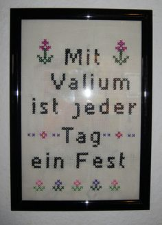 Valium Cross Stitch - Crafting