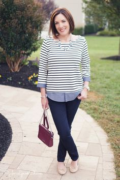 Fashion Over 40: Black Stripes & Chambray