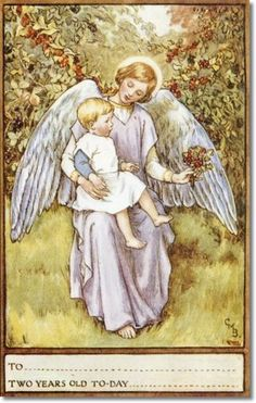 Cicely Mary Barker - Religious Works - Guardian Angel Birthday Cards for SPCK 1923 - Second Year Card Painting