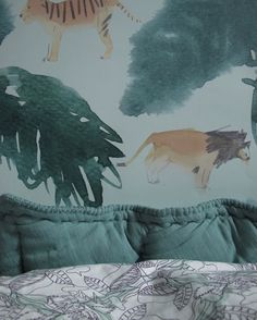 Safari wallpaper, leafblanket &a botanic bedding all from Nofred.com