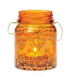 Small Tangerine Mehndi Mason Jar