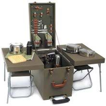camping kitchen with seats