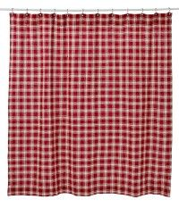 Our Breckenridge Burlap Shower Curtain is a country red and creme plaid and will bring warmth to your bathroom. https://www.primitivestarquiltshop.com/Breckenridge-Burlap-Shower-Curtain_p_7782.html