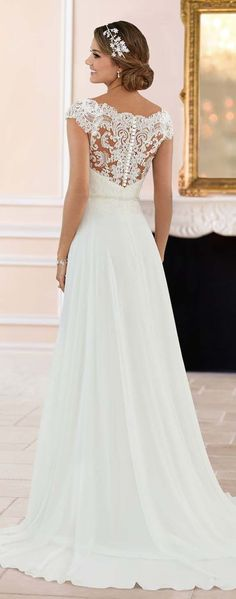 Wedding Dresses by Stella York Spring 2017 Lace Back Wedding Dress, Wedding Dresses, Elegant Wedding Dress, Bridal Gowns, Chiffon, Older Bride, Fashion, Wedding Planning, Engagement