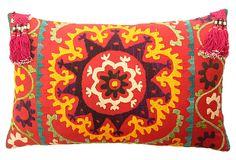 "Multicolor Suzani Pillow  -  ERIN KELLER HOME  -  21""L x 13.5""W  -  OneKingsLane.com  -  ($189.00)  $119.00"