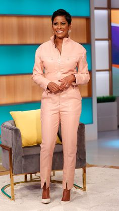 Tamron's – Week of Jan. 6 – Tamron Hall Show Fashion Tv, Love Fashion, Womens Fashion, Tamron Hall, Gamine Style, Pink Jumpsuit, Cool Style, My Style, My Black Is Beautiful