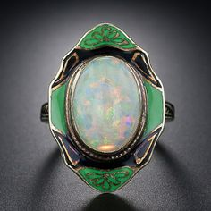 Art Deco Opal and Enamel Ring