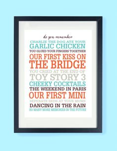 This is our Personalised 'Do You Remember' Print, a uniquely personalised A4 or A3 Print, to celebrate all those treasured memories.  A wonderful gift for a special friend, children, parents, grandparents, or an anniversary celebration.  Just simply tell us your special memories and we will create a unique piece of art that is sure to bring a smile to anyones face.  https://www.etsy.com/uk/listing/169133821/personalised-supermum-art-print?ref=related-6