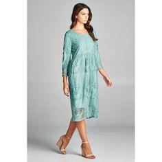 Spicy Mix Women's Juno Lace Overlay Scalloped Hem Midi Dress