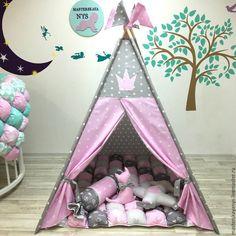 Купить Королевский серо-розовый вигвам для принцессы. Палатка, шалаш - вигвам, детский вигвам