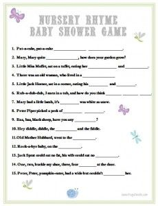 Baby Shower Nursery Rhyme Game Printable. Print this fun game for your next baby shower!