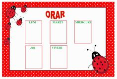 Imagini pentru orar pt clasa pregatitoare cu buburuze Calendar, Holiday Decor, Pray, Menu Calendar