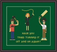 (10) Name: 'Embroidery : The IT Crowd Funny Cross Stitch Pattern