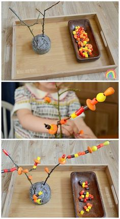 Autumn Tree Threading Activity for developing fine motor skills :: Wings and Roots Best Picture For Montessori Education preschool For Your Taste You are looking for something, and it is going to tell Motor Skills Activities, Montessori Activities, Fine Motor Skills, Toddler Activities, Preschool Learning, Kindergarten Inquiry, Nursery Activities, Montessori Education, Autumn Eyfs Activities