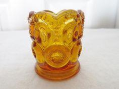 Vintage KANAWHA DUNBAR Art Glass MOON & STARS-Toothpick Holder-AMBER