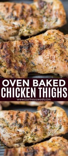 Oven baked chicken thighs make for an easy dinner that takes less than 25 minutes! Use our chicken seasoning to make chicken thighs super flavorful. Recipes no oven Oven Baked Chicken Thighs Chicken Thigh Recipes Oven, Oven Roasted Chicken Thighs, Baked Boneless Chicken Thighs, Oven Baked Chicken Thighs, Chicken Thights Recipes, Baked Chicken Breast, Baked Chicken Recipes, Chicken Thigh Seasoning, Oven Recipes