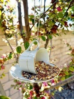 Teacup Bird Feeder Repurposing Idea Outdoor DIY Projects - Inexpensive and Easy Ways to Improve Your