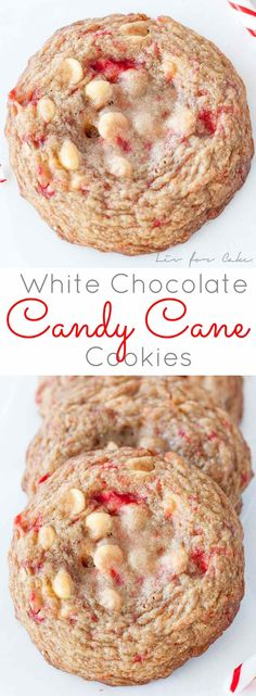 White Chocolate Candy Cane Cookies Recipe Crushed up candy canes and white chocolate chips make these White Chocolate Candy Cane Cookies the perfect sweet treat for the holiday season. Köstliche Desserts, Holiday Desserts, Holiday Baking, Holiday Treats, Holiday Recipes, Delicious Desserts, Dessert Recipes, White Desserts, Candy Cane Cookies