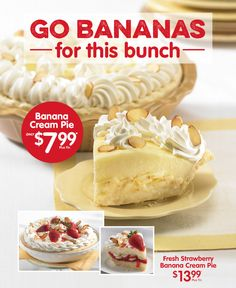 Go Bananas for this bunch! #MarieCallenders #Pie #Sweets