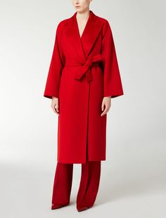 Max Mara NEVIS red: Cashmere coat. Find your outfit on the Official Max Mara Website and discover all that is new in ready-to-wear.