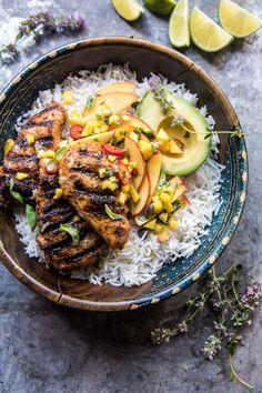 20 Minute Grilled Jerk Chicken with Mango-Nectarine Salsa   halfbakedharvest.com @hbharvest