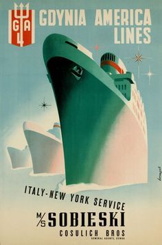 Poster of Gdynia America Lines - Italy New York service MS Sobieski Cosulich.