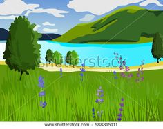 Summer landscape. Vector background. Green lawn with flowers and trees. Lake and mountains. Clear weather.