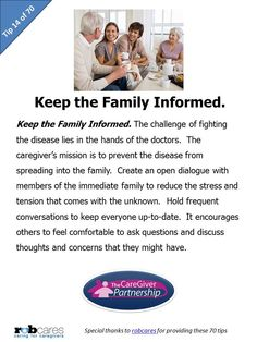 Today's Tip in Honor of National Family CareGiver Month: Keep the Family Informed. #caregiver #caregiving #nationalfamilycaregivermonth