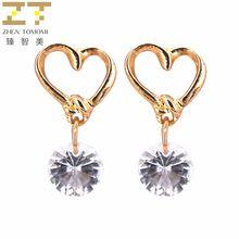 Er278 Korean Fashion Peach Heart Zircon Crystal Stud Earrings For Women Jewelry //FREE Shipping Worldwide //