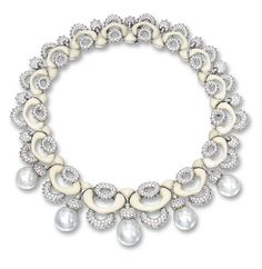 Cultured Pearl, White Coral and Diamond Necklace, Mauboussin:  Designed as a series of interlocking white coral and diamond-set links, set to the front with five cultured pearls measuring approximately 19.65 x 17.10 x 17.05mm to 16.40 x 15.65 x 15.60mm, the diamonds together weighing approximately 20.00 carats, mounted in 18 karat white gold, length approximately 390mm, signed and numbered 49628.