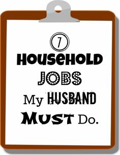 Things that the husband must do.