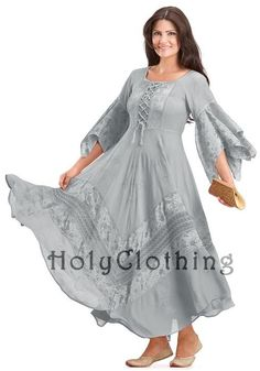 Silver Pewter Belladonna Peasant Bustier Empire Waist Gypsy Boho Corset Dress by Holy Clothing