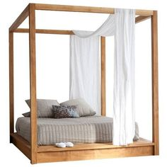 MASHstudios Pchseries Canopy Bed Queen By (€4.075) ❤ liked on Polyvore featuring home, furniture, beds, post bed, queen canopy bed frame, hardware furniture, queen post bed and queen furniture