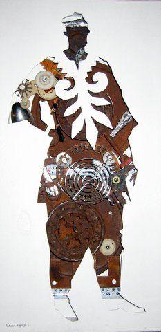 Peter Ngugi - Genesis I - Mixed media - 61 x 30 cm East Africa, Samurai, Contemporary Art, Mixed Media, Art Gallery, Art Museum, Mixed Media Art, Modern Art, Samurai Warrior