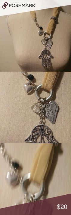 """Beautiful necklace Hamsa Hand with silver. Hamsa. Hand necklace. Brand new never worn. Has A silver plated heart that says """"not older wiser"""" Jewelry Necklaces"""