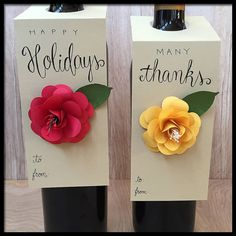 Wine Bottle Gift Tags With Paper Flowers - Set of 2 - Hostess Gift - Thank You Present - Holiday Gift Idea - Handmade and Personalized