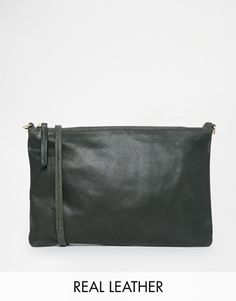 Warehouse Leather ACross Body Bag in Forest Green